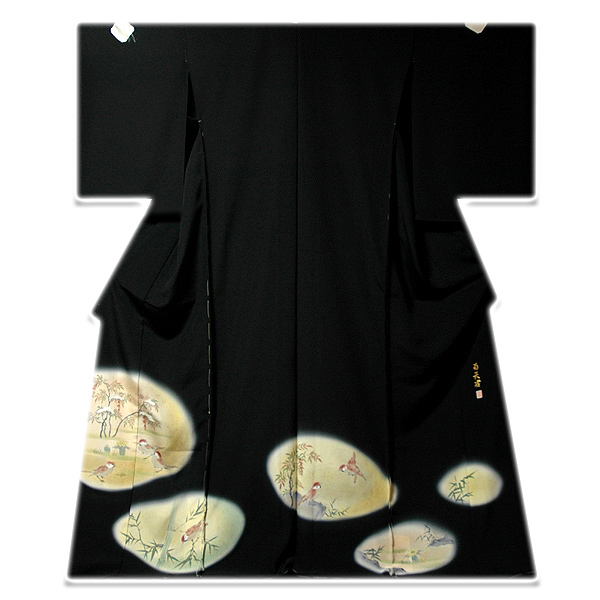 画像1: ■手縫いお仕立て付き! 南天雀 可愛らしい 作家物 落款 黒留袖■ (1)