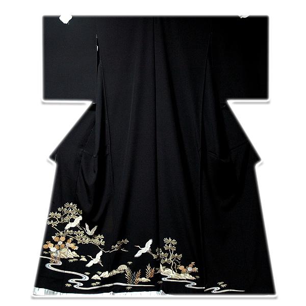 画像1: ■手縫いお仕立て付き! 飛び鶴 上品な 黒留袖■ (1)