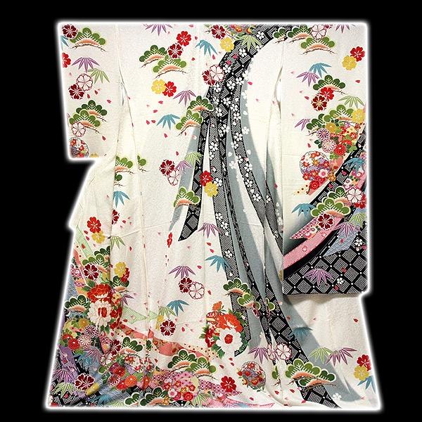 [和楽屋] ◆染め分けボカシ 白色 松竹梅 束ね熨斗 銀通し加工 丹後ちりめん 正絹 振袖◆