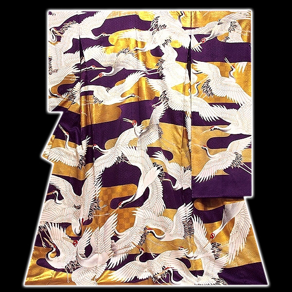 [和楽屋] ◆京都 老舗一流「染の北川謹製-本金箔に千羽鶴」 相良刺繍 手刺繍入り まさに豪華絢爛 最高級品 振袖◆