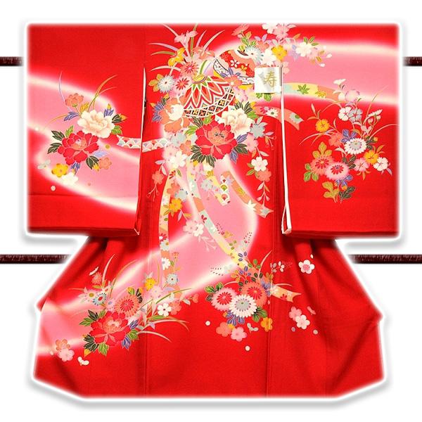 画像1: ■色とりどりの花模様 染め分けボカシ マリ柄 女児 産着 掛け着 七五三 お宮参り 正絹 祝着物■ (1)