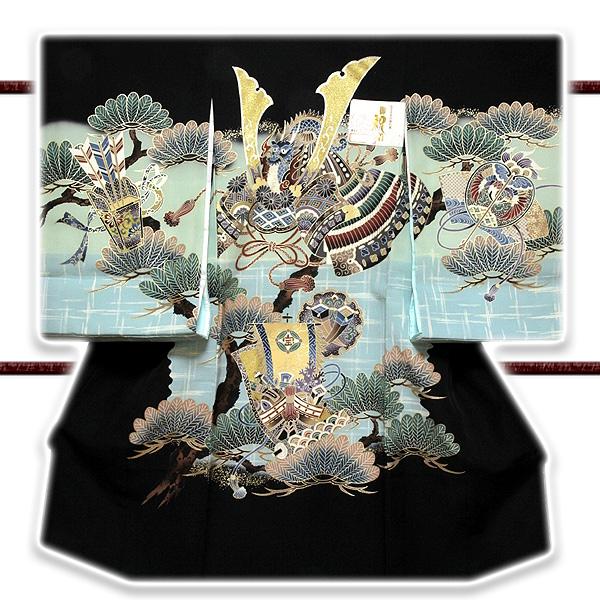 画像1: ■「ブック付き-龍にかぶと柄」 日本製 染め分けボカシ 宝尽くし 吉祥文様 男児 七五三 正絹 祝着物■ (1)
