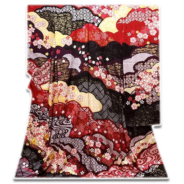 [和楽屋] ◆手縫い仕立て付き 「絞り-染め分け」 豪華絢爛 銀通し加工 金駒刺繍 正絹 振袖◆