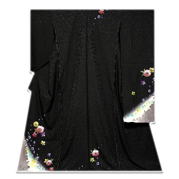 画像1: ■手縫いお仕立て付き 黒地 金彩加工 桜柄 振袖■ (1)