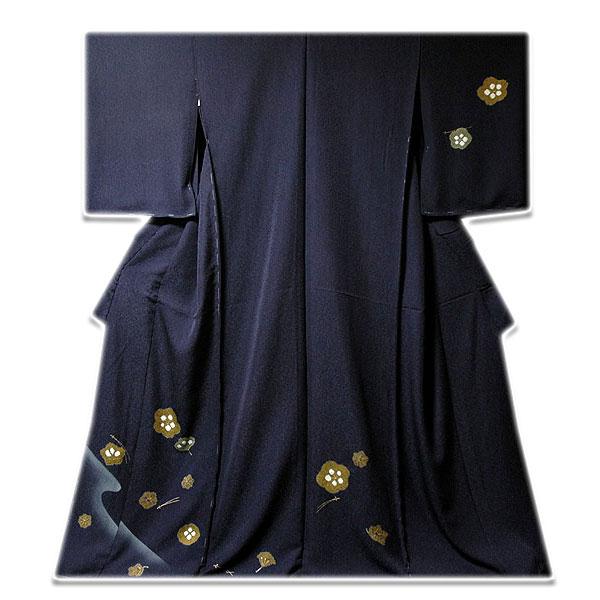 画像1: ■手縫い仕立て付き 金彩加工 絞り入り シックな 訪問着■ (1)