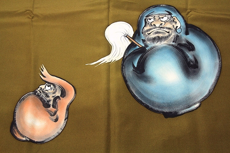 画像1: ■男物 迫力のあるダルマ 縁起の良い達磨柄 絵羽 正絹 長襦袢■ (1)