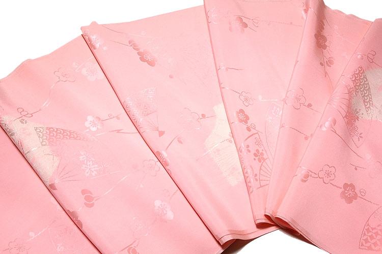 画像1: ■【訳あり】「贅沢な絞り入り」 別織 紋綸子絞り 扇子に梅柄 華やかな 正絹 長襦袢■ (1)