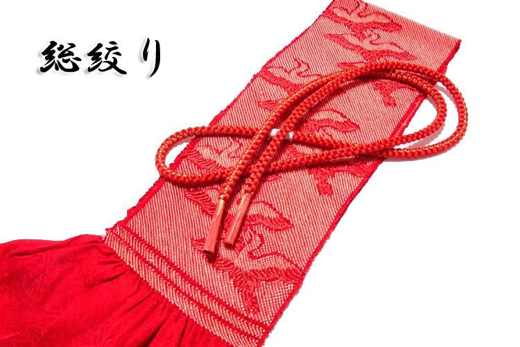 画像1: ■「総絞り-飛び鶴」 振袖に最適 正絹 帯揚げ 金糸織 丸組 帯締め セット■ (1)