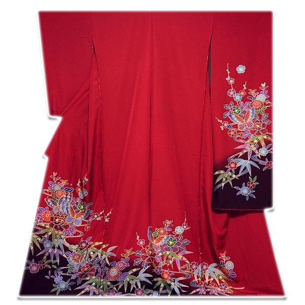 画像1: ■手縫い仕立て付き フルオーダー 【訳あり】紅型風 ボカシ染め オシャレ 正絹 振袖■ (1)