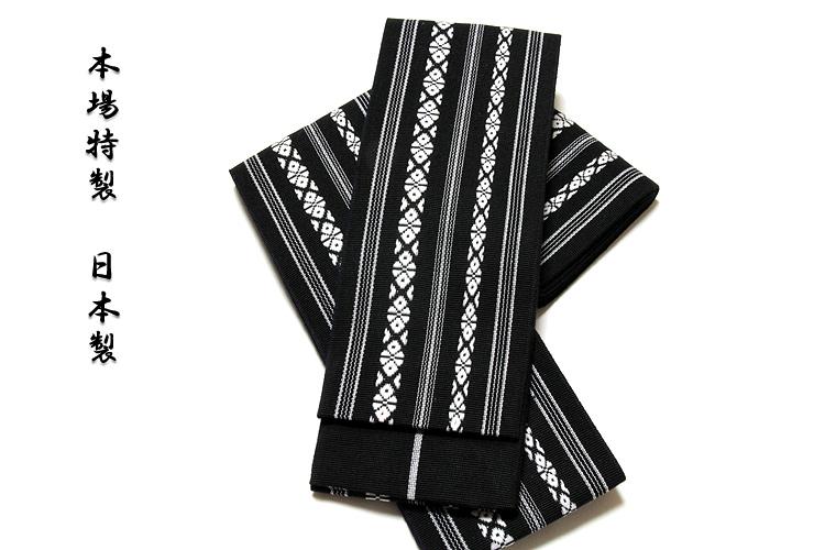 画像1: ■男物 「本場特製-日本製」 献上柄 綿100% 黒色 角帯■ (1)