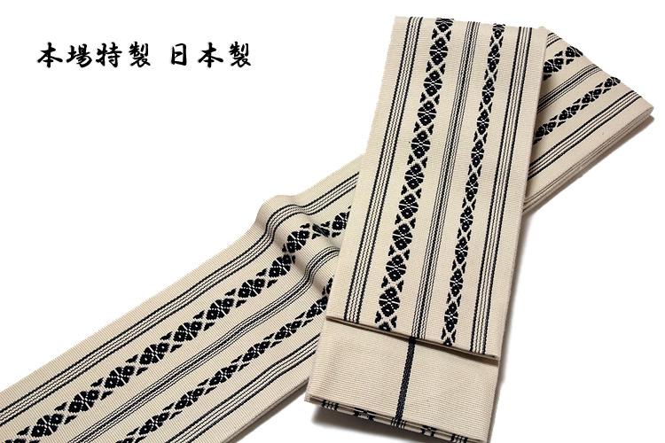 画像1: ■男物 「本場特製-日本製」 綿100% 献上柄 生成り色 角帯■ (1)