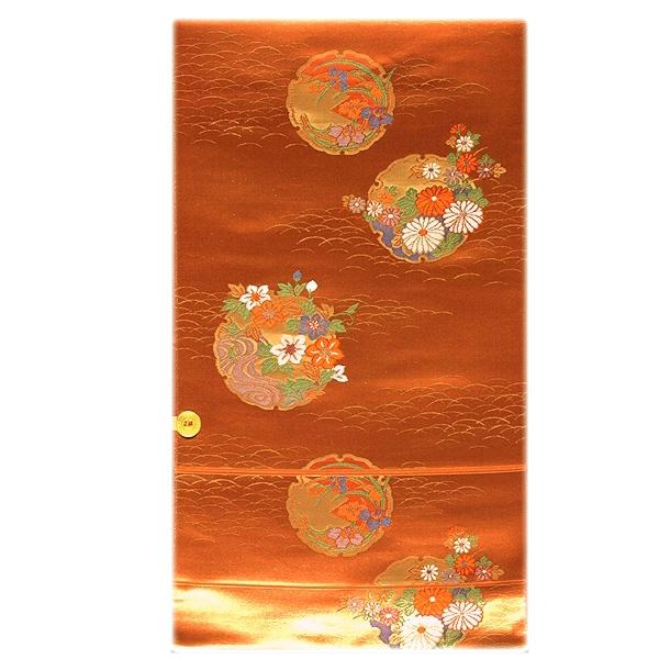 画像1: ■煌びやかな金糸織 雪輪柄 豪華 正絹 九寸 名古屋帯■ (1)