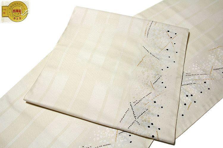 画像1: ■京都西陣織 老舗 「木原織物謹製」 白色系 オシャレ 正絹 九寸 名古屋帯■ (1)