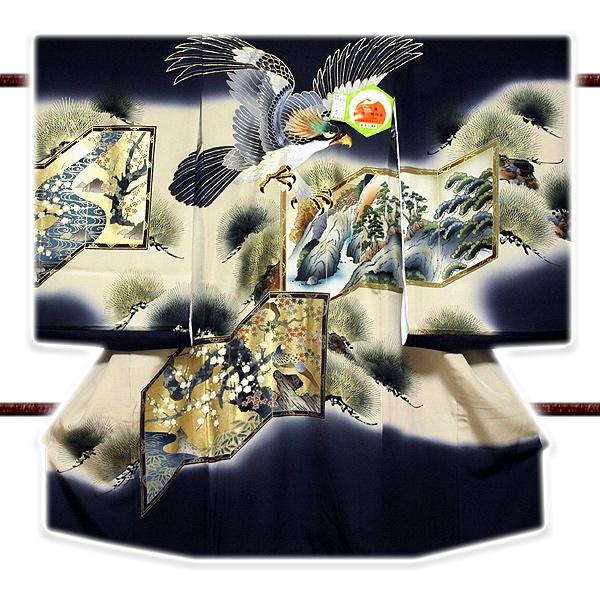 画像1: ■【訳あり】「正絹 男の子 のしめ 一つ身」 日本製 刺繍入り 金彩加工 松竹梅 吉祥文様 あきら謹製 男児 七五三 祝着物■ (1)