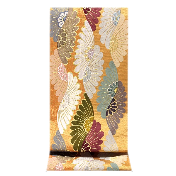 [和楽屋] ◆煌びやかで豪華な 立涌菊 金色系 金糸織 正絹 袋帯◆