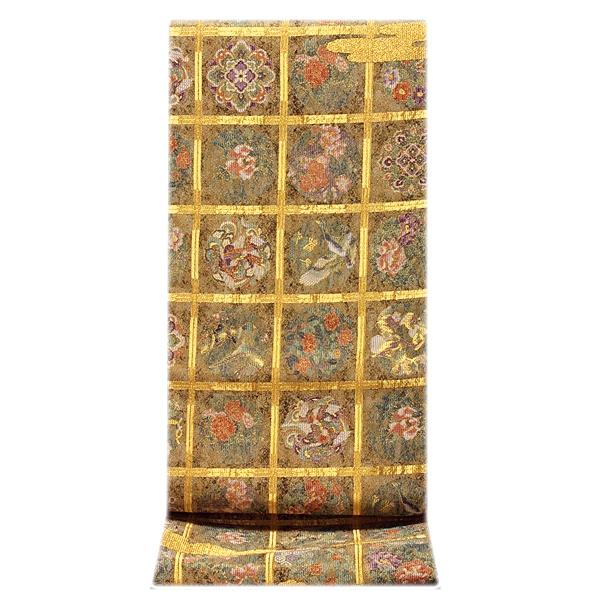 画像1: ■「格天花鳥絵文」 金色系 華やかで煌びやかな 全通柄 正絹 袋帯■ (1)