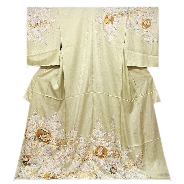 [和楽屋] ◆美しい花模様 煌びやかな金彩加工 雪輪 地紋 本染め 高級 正絹 訪問着◆