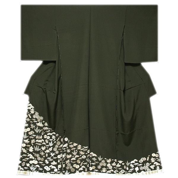 画像1: ■【訳あり】「中国伝統工芸:蘇州刺繍」 銀彩加工 宝尽くし 正絹 色留袖■ (1)