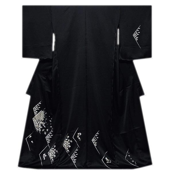画像1: ■「贅沢な総刺繍」 黒色 柄全てが細やかな刺繍 七宝 菊梅笹 高級ちりめん生地使用 正絹 付下げ 訪問着■ (1)