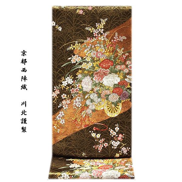 画像1: ■「京都西陣織:川北謹製」 見事な花車柄 路考茶色 金糸織 正絹 袋帯■ (1)