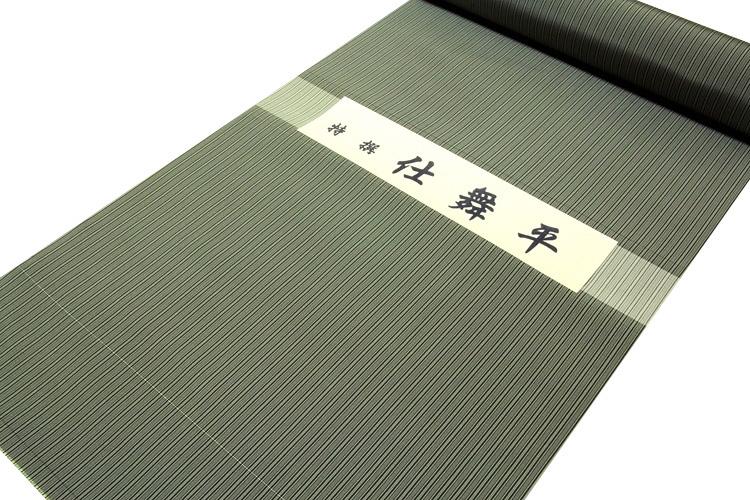 画像1: ■「特撰:仕舞平」 縞柄 麹塵色系 上質で高級な 男物 反物 正絹 袴■ (1)
