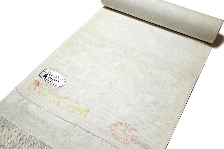 画像1: ■「白さ長持ち シルクロード加工」 夏物 白色 流水に千鳥 紋紗 日本の絹 丹後ちりめん 反物 正絹 長襦袢■ (1)