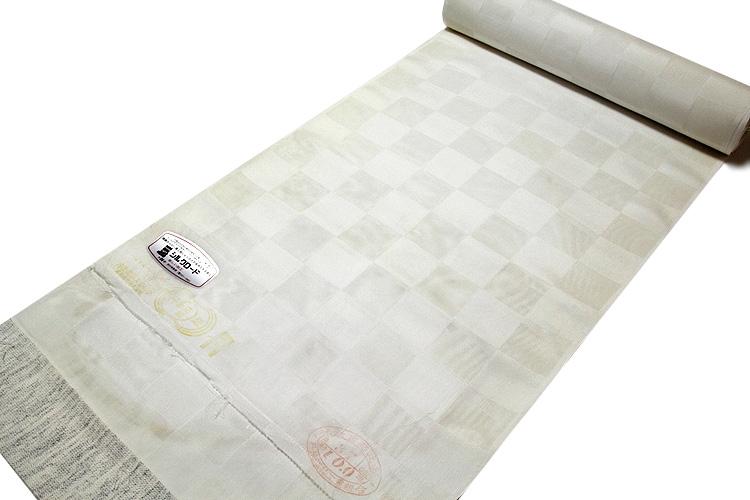 画像1: ■「白さ長持ち シルクロード加工」 夏物 白色 市松紋紗 丹後ちりめん生地 反物 正絹 長襦袢■ (1)