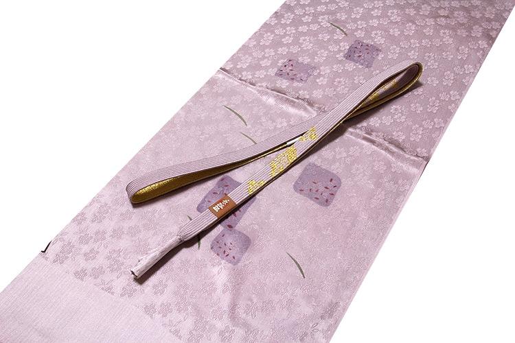 画像1: ■「正絹」 立体的な地紋起こし 鴇鼠色系 帯揚げ 手組紐 平組 帯締め セット■ (1)