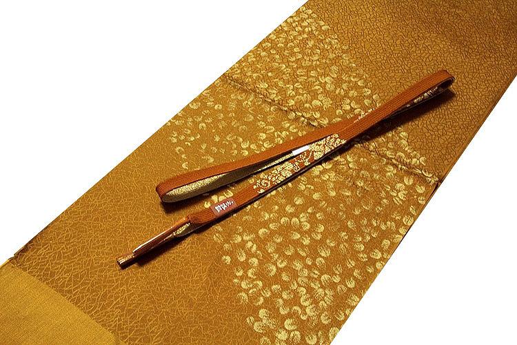 画像1: ■「正絹」 黄橡色系 地模様 オシャレ 帯揚げ 手組紐 平組 帯締め セット■ (1)