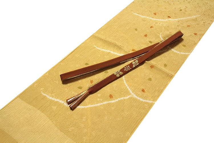 画像1: ■「正絹-高級」 絞り染め オシャレ 帯揚げ 平組 帯締め セット■ (1)
