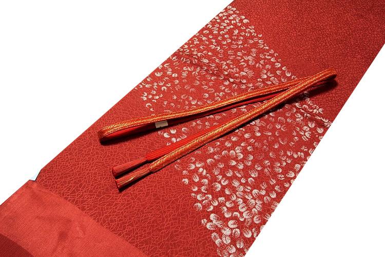 画像1: ■「正絹」 オシャレ 地模様 帯揚げ 金糸入り 平組 帯締め セット■ (1)