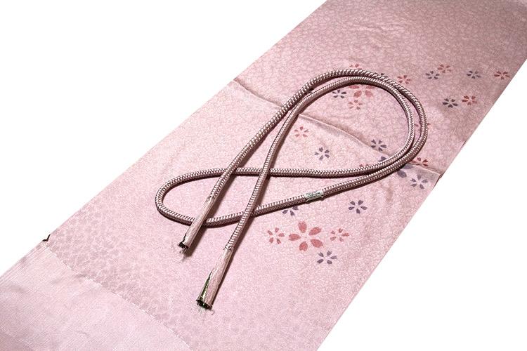画像1: ■「正絹」 桜柄 地模様 帯揚げ 丸組 帯締め セット■ (1)