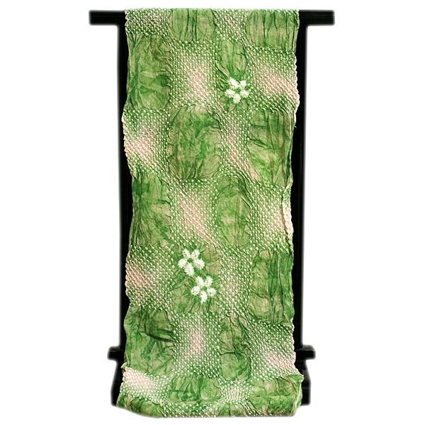 画像1: ■【絞りゆかた】 若緑色 灰桜色 贅沢で細やかな 総絞り 最高級 浴衣■ (1)