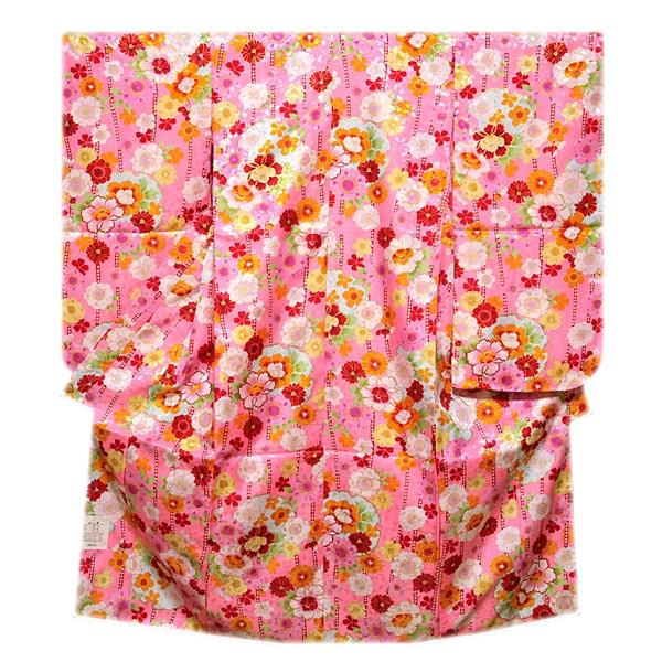 画像1: ■可愛らしいピンク色系 花模様 煌びやかな金彩加工 地模様 女児七才 四ッ身 七五三 着物■ (1)