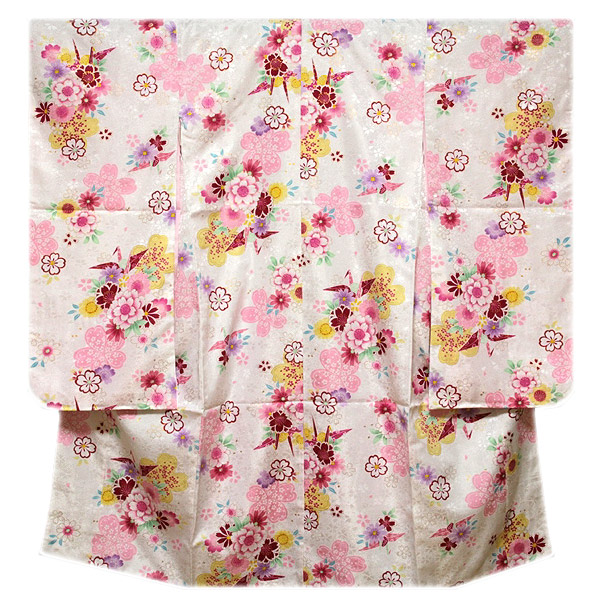 画像1: ■可愛らしい白地 美しい桜柄 折鶴 煌びやかな金彩加工 地模様 女児七才 四ッ身 七五三 着物■ (1)