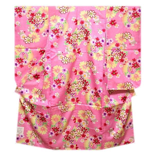 画像1: ■【訳あり】可愛らしいピンク色系 花模様 ボカシ染め 地模様 女児七才 四ッ身 七五三 着物■ (1)