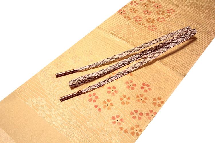 画像1: ■「正絹 夏物 絽」 可愛らしい花柄 地模様入り 帯揚げ 平組 帯締め セット■ (1)
