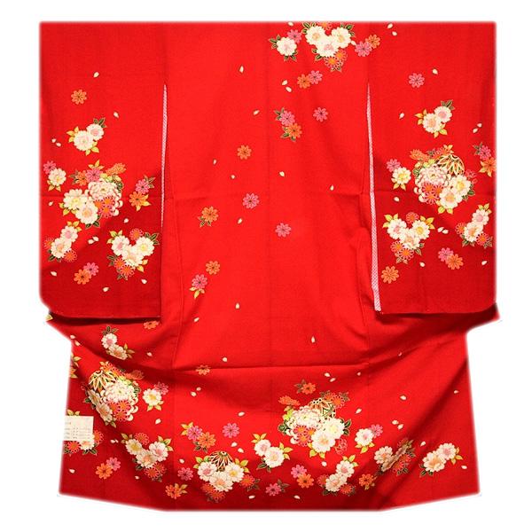 画像1: ■可愛らしい赤色系 花模様 絵羽柄 煌びやかな金彩加工 地模様入り 女児七才 四ッ身 七五三 着物■ (1)