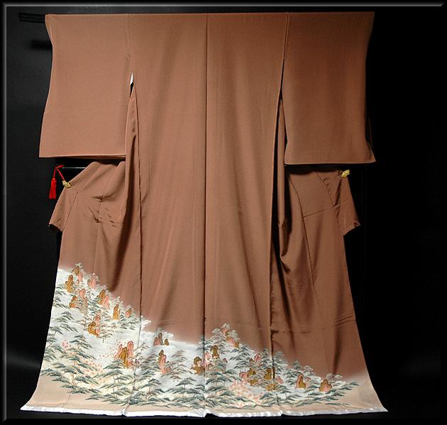 画像1: ■手縫いお仕立て付き! 壮大な手描き 丹後ちりめん 色留袖■ (1)