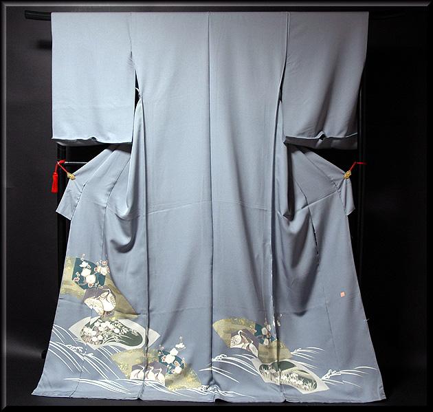 画像1: ■手縫いお仕立て付き! 「作家物 落款」鶴に梅 金彩加工 上品な 色留袖■ (1)