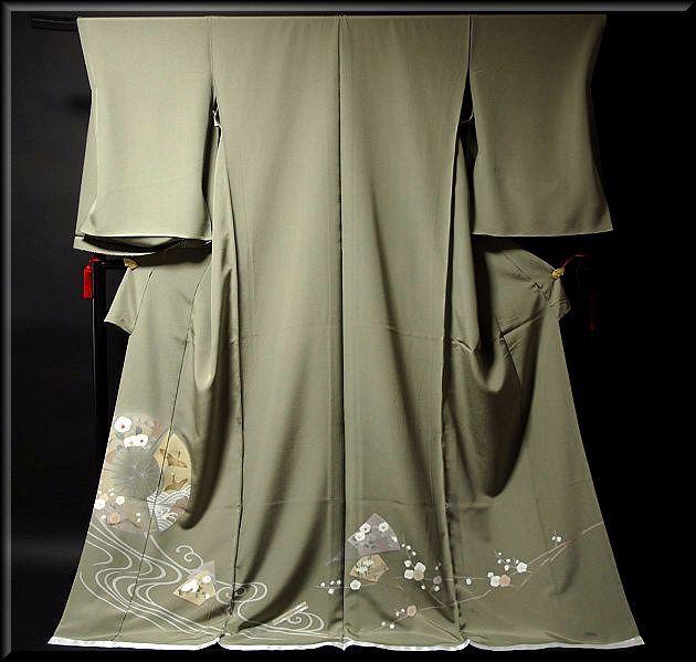 画像1: ■手縫いお仕立て付き! 手描き 金彩飛び鶴 上品な 色留袖■ (1)