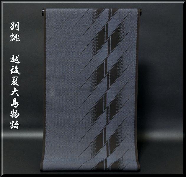 画像1: ■別誂 越後夏大島物語 夏物 黒地に濃紺 紬■ (1)