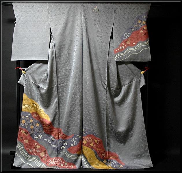 画像1: ■手縫い仕立て付き 絞り染め 染め分けボカシ グレー地 訪問着■ (1)