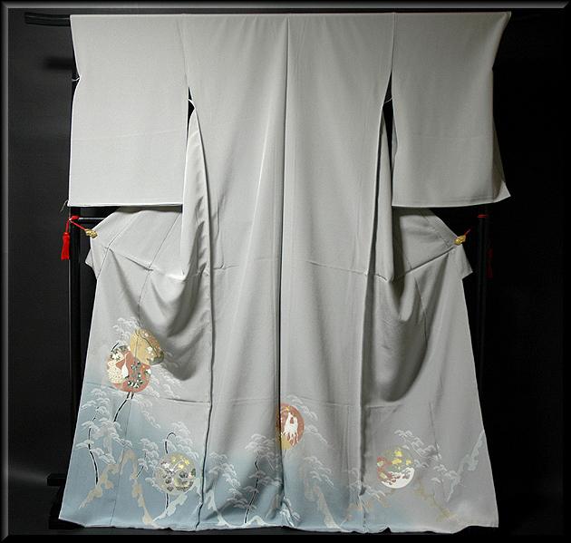画像1: ■手縫いお仕立て付き! 松梅 鶴柄 金彩加工 丹後ちりめん 色留袖■ (1)