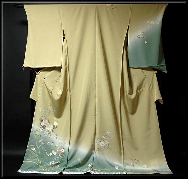 画像1: ■手縫い仕立て付き 手描き 花模様 裾ボカシ 落款入り 訪問着■ (1)