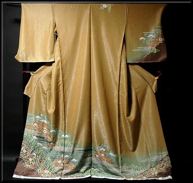 画像1: ■手縫い仕立て付き 辻が花 絞り 銀通し加工 ボカシ 訪問着■ (1)