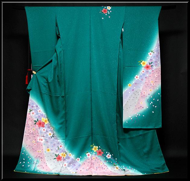 画像1: ■手縫いお仕立て付き エメラルドグリーン 桜柄 銀通し ラメ 振袖■ (1)