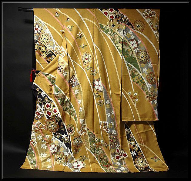 画像1: ■桜に金彩加工 金駒刺繍 豪華 本加工 手描き 振袖■ (1)